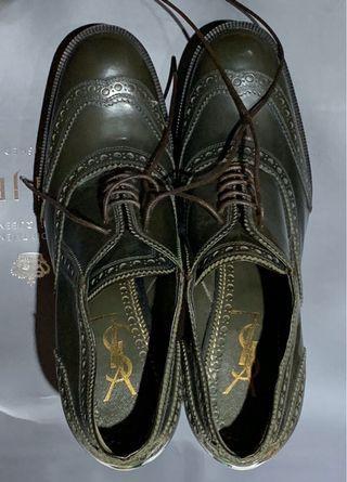 YSL墨綠色細跟腳踝靴34號半