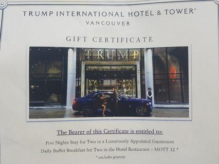 Trump International Hotel & Tower Vancouver Canada Hotel Voucher 5 Nights Stay 5 Star Hotel