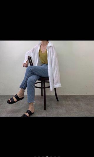 皺皺薄防曬白襯衫