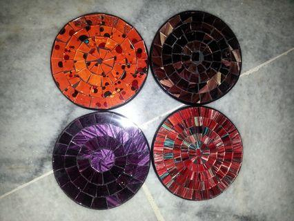 Balinese Handmade Coasters in Assorted Colours (A set of 4 pieces)