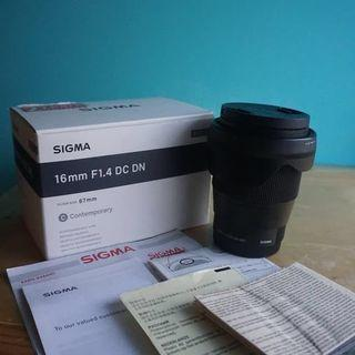 Lensa Sigma 16mm f1.4 for sony