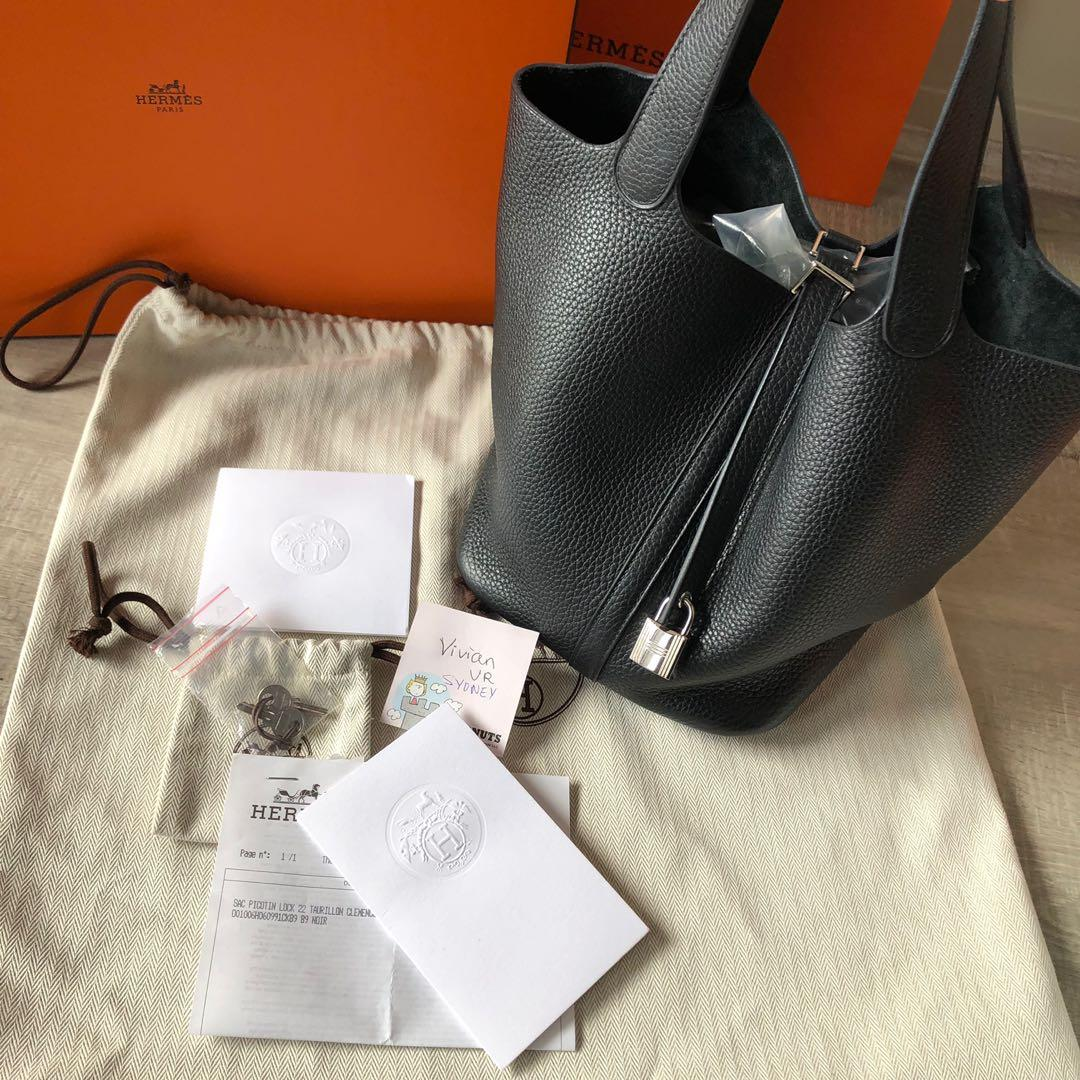 100% Auth Hermes picotin black 22 hand bag clemence receipt FULL SET