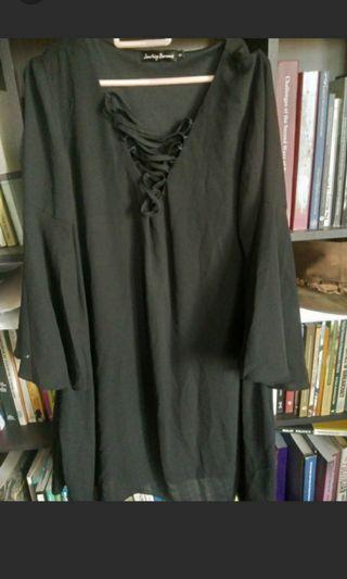 Criss cross black mini dress