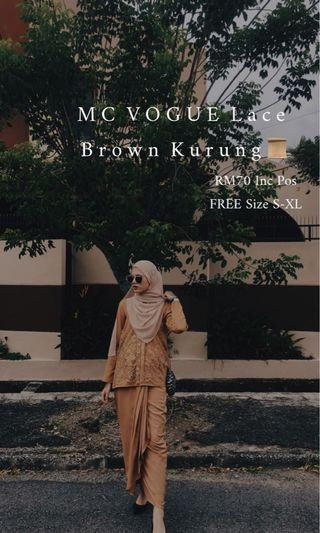 MC VOGUE Lace Kurung  In Brown Color