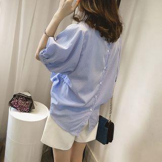 《出清》夏季新款寬鬆條紋蝙蝠袖上衣休閒立領襯衣襯衫女裝