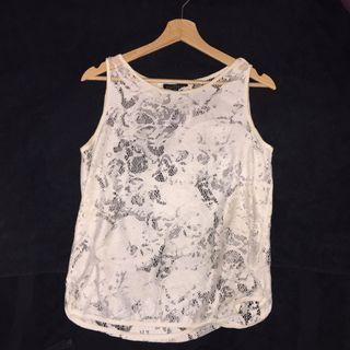 Zara skull lace top in broken white