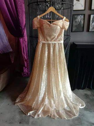 🆕 Dinner Banquet Dress (Gold Colour)