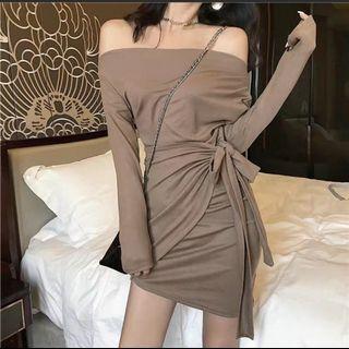 Bodycon Wrap Dress off shoulder