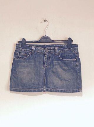 Zara Cool Distressed Wash Embroidered & Studded Denim skirt