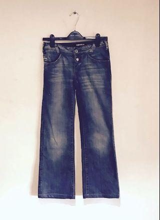 Miss Sixty Awesome Wide Leg Distressed Wash Jeans