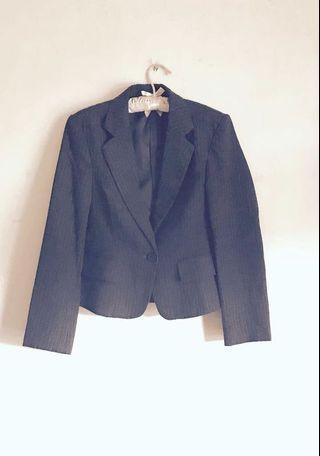 Tailored Sophisticated Cropped Black Pinstripe Suit Blazer