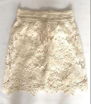 No Brand Beautiful Cream/Off White Flower Brocade Skirt