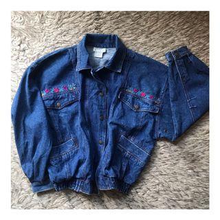 Oversize Embroidered Bomber Denim Jacket jaket jeans