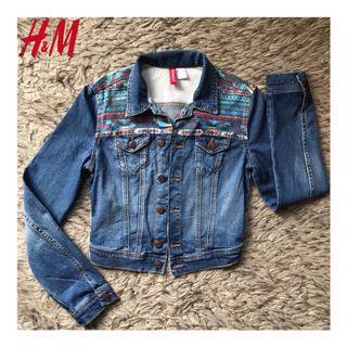 H&M Tribal Print Denim Jacket Jaket jeans