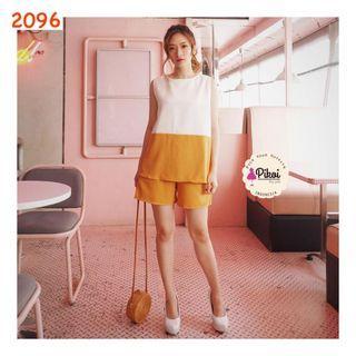 One set celana pendek putih / setelan atasan bawahan santai korea / 2096