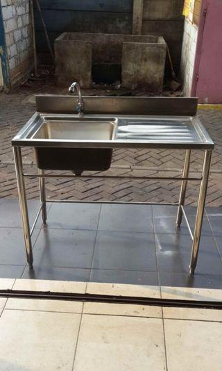 Sink Stainless 1 Lubang uk.55x100 cm T.80 cm