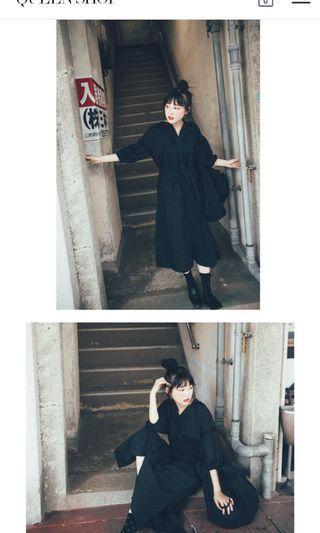 蕾絲拼接寬鬆長洋裝(黑/咖)