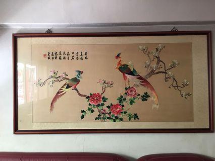 湘繡-彩鳳來儀 客廳掛畫218X120cm