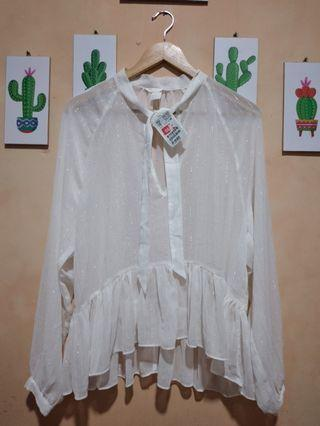H&M White creped blouse with tie