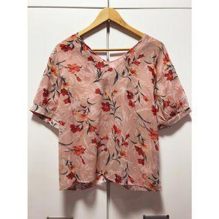 日本帶回🇯🇵甜美粉花柄正反兩穿雪紡襯衫
