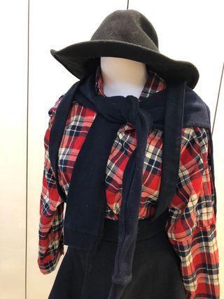 [不平凡小姐]韓國製 紅藍格紋 假披肩長袖襯衫