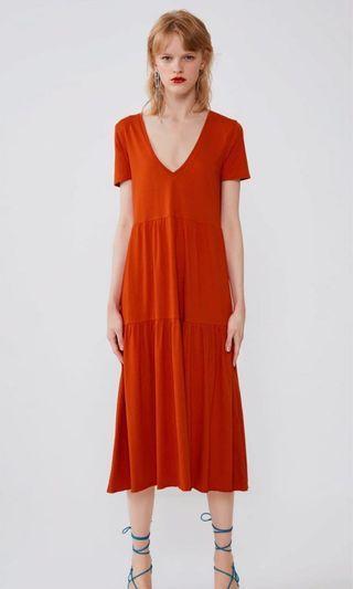 Zara Orange Ruffled Dress