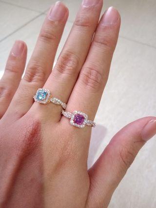 Cincin emas asli diamond look