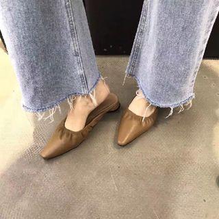 韓妞顯瘦咖啡色懶人鞋尖頭淺口鬆緊彈力束口復古穆勒外穿半拖鞋韓國日本上班族辦公室跟鞋駝色OL穿搭成熟約會女人味