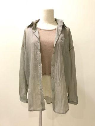 【現貨實拍-秋季新品】灰色抓皺襯衫上衣 防曬開衫罩衫