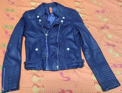 tough jeansmith 軍裝搖滾雙拉鍊騎士藍紫色皺折感皮衣