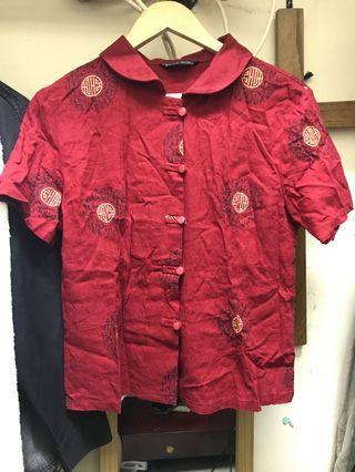 中式 復古 紅色 短袖