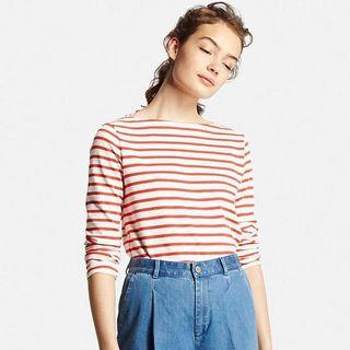 Uniqlo Striped Long Sleeve Top (Red)