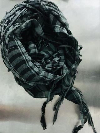 千鳥紋 圍巾 綠色X黑色