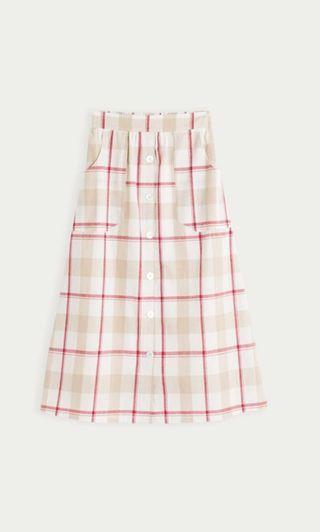 #全新含吊牌 Pazzo 棉麻格紋配色中長裙 此款版型適中