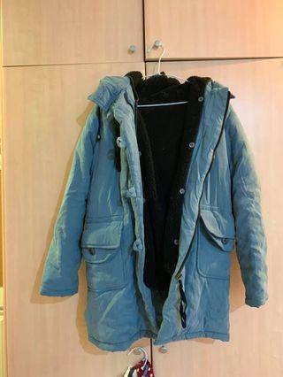 霧藍連帽鋪棉內羊羔毛大衣外套