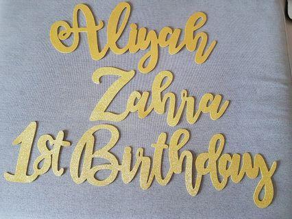 (Whole set) Calligraphy Name for Birthday Decor