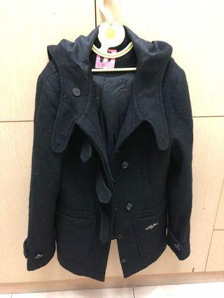 FFFF黑色羊毛大衣外套