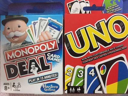 Uno & Monopoly Deal Family Game Card deck bundle lot