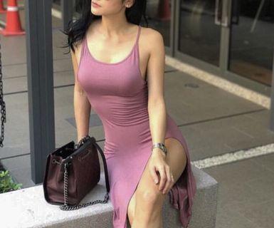 Slit purple midi dress
