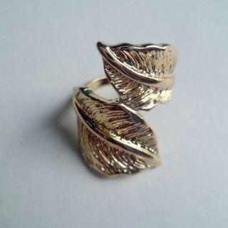 全新 歐美復古金屬葉子造型戒指 度假風 vintage
