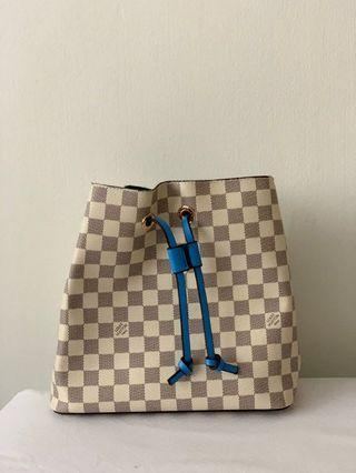 Louis Vuitton Inspired Neonoe Bucket Bag 5A with blue strap