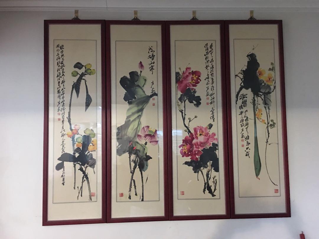 中國東北畫家-蘆巍掛畫4幅