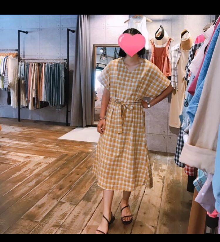 全新*棉麻格紋洋裝深藍色