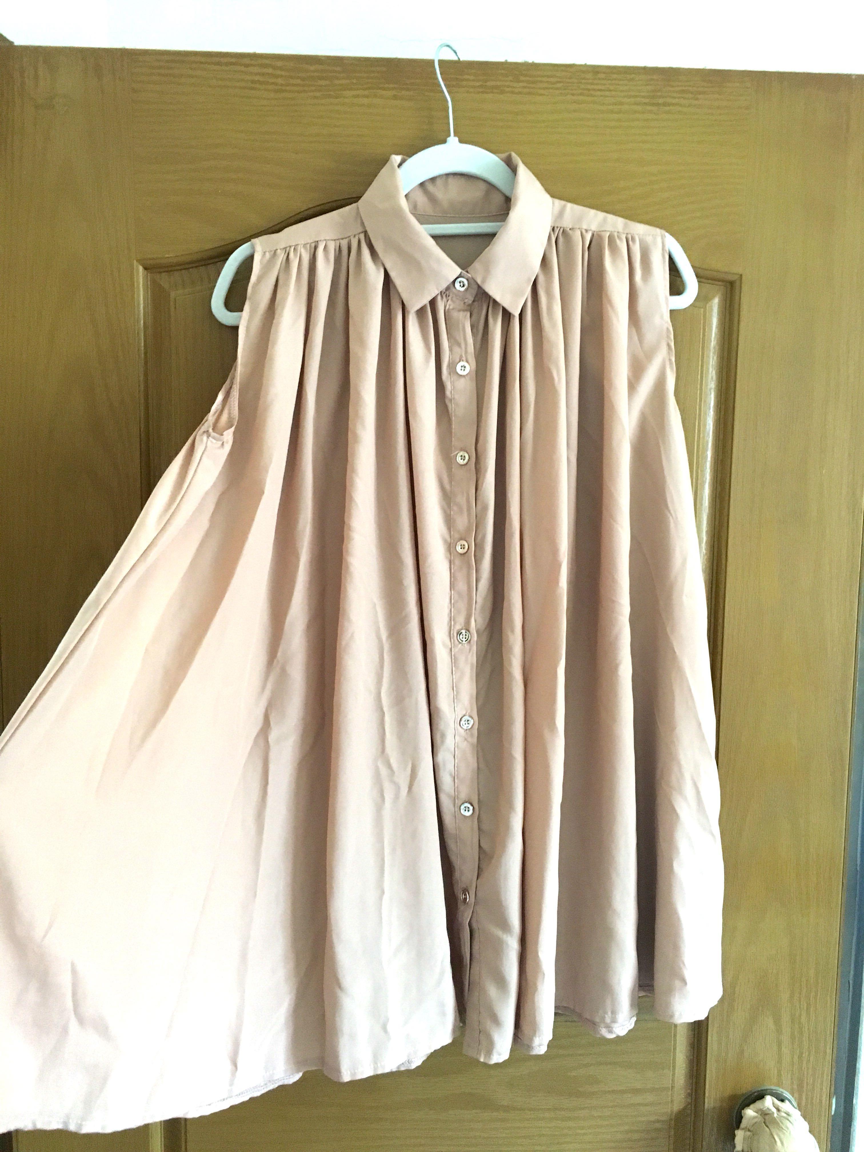 無敵寬鬆長版無袖襯衫