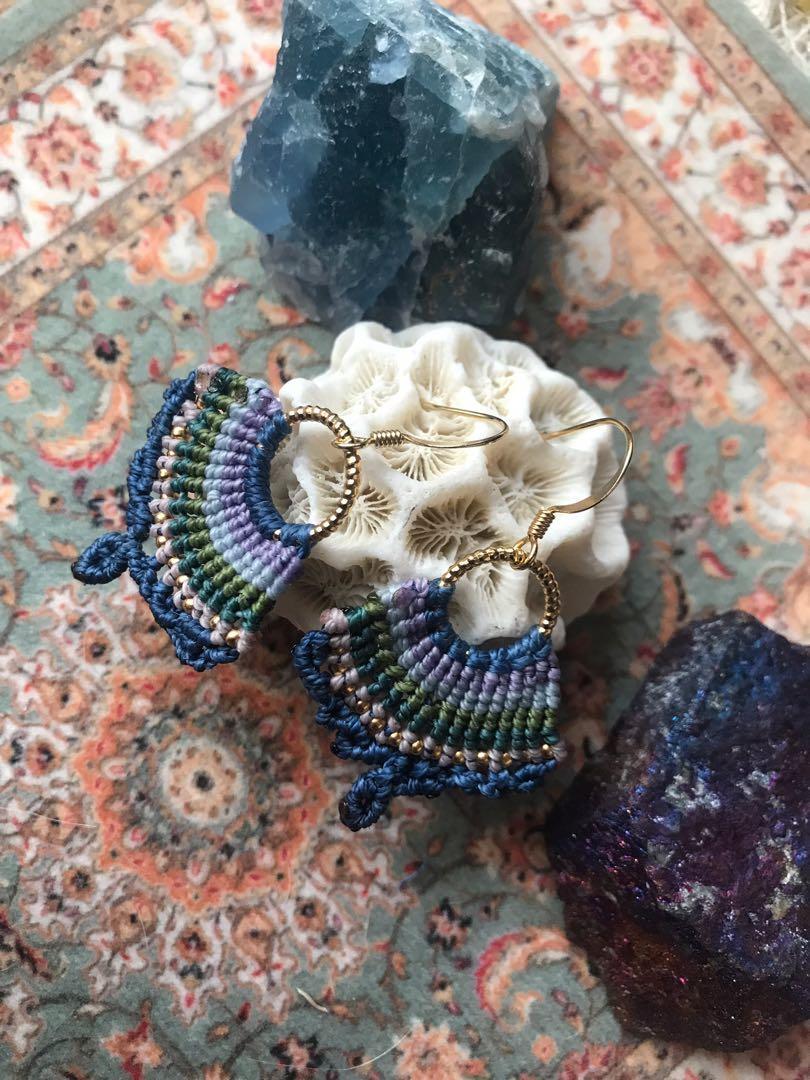 🌿🌿耳環/黃銅蠟繩編織耳環