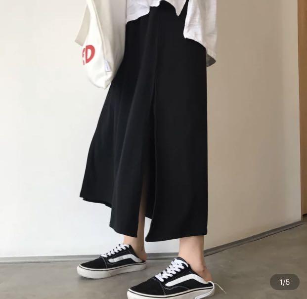 黑色半裙 開叉