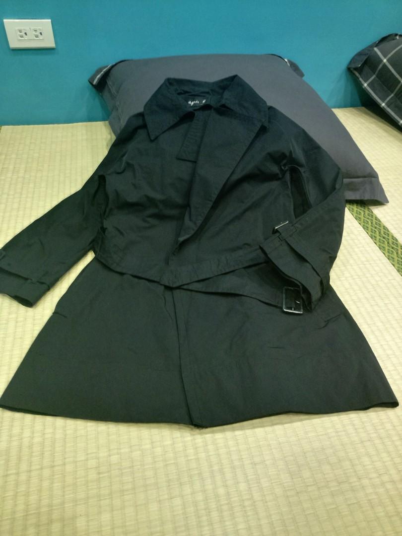 agnes b.綁帶風衣外套 中長版風衣 專櫃正品