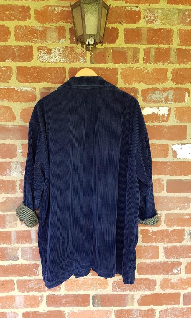Amazing Vintage Navy Blue Corduroy Long Jacket-Oversized Fit/XL