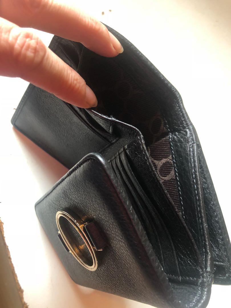 Black OROTON luxury leather wallet - Elemental high fold RRP$215