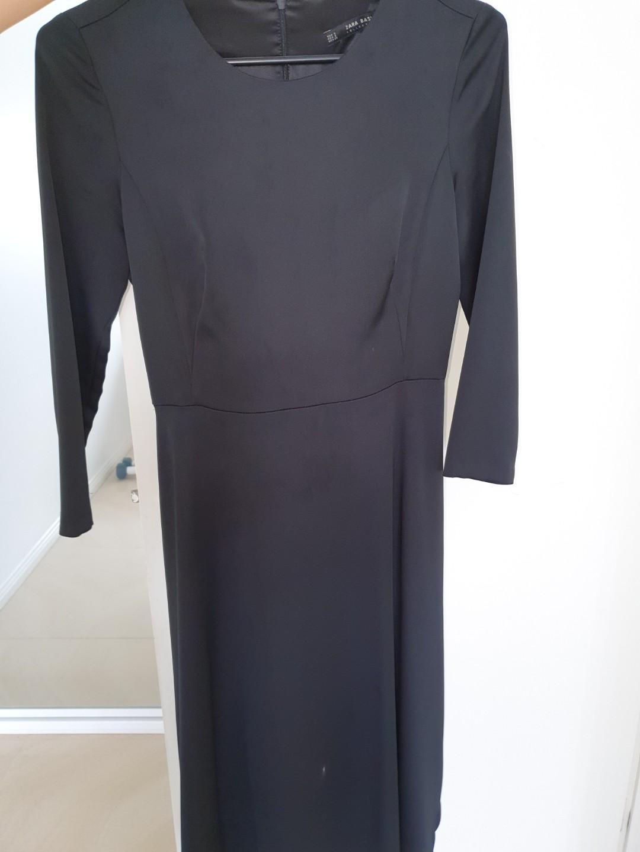 Black satin long sleeve and A-line dress - STUNNING